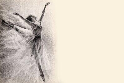 Fototapeta baletnica w skoku. naszkicować. grafika. rysunek ołówkiem