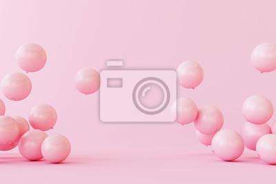 Fototapeta Balloons on pastel pink background. 3d rendering