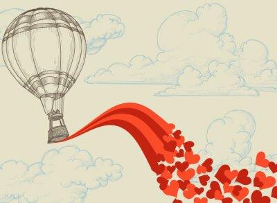 Fototapeta Balon na ogrzane powietrze Latanie serca romantyczną koncepcję