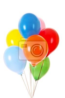 Balony latające na białym tle