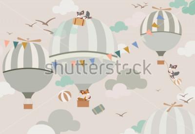 Fototapeta balony na niebie do lisów w delikatnych tonach