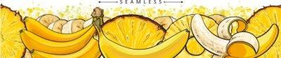 Fototapeta Banana and pineapple seamless pattern or endless border sketch vector illustration.