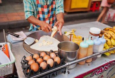 Banana Pancake gotowanie Thai na ulicy
