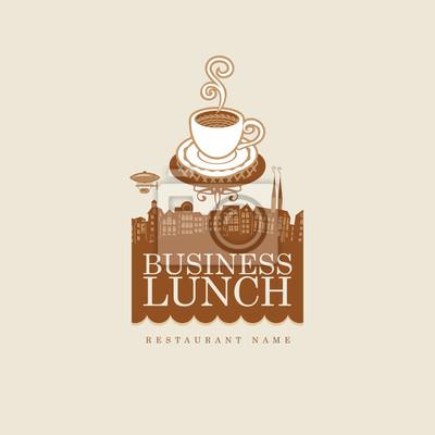 baner z filiżanką kawy na tle starego miasta