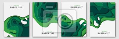 Fototapeta Banery ustawić 3D abstrakcyjne tło, zielone kształty cięcia papieru. Układ projektu wektorowego dla prezentacji biznesowych, ulotek, plakatów i zaproszeń. Sztuka rzeźbiarska, elementy środowiska i eko