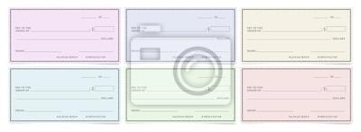 Fototapeta Bank cheques templates. Blank personal desk checks.