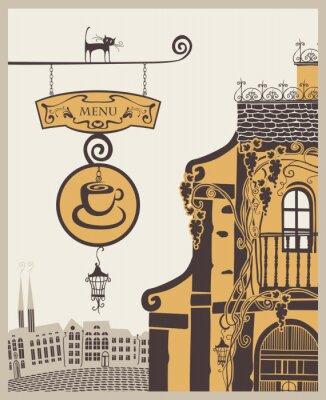 Fototapeta banner dla menu do starego kawiarni w mieście