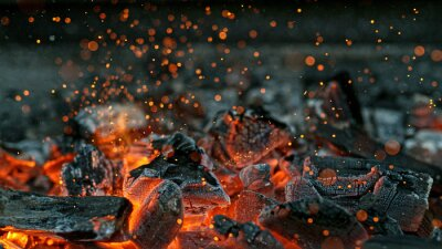 Fototapeta Barbecue Grill Pit With Glowing And Flaming Hot Charcoal Briquettes, Close-Up