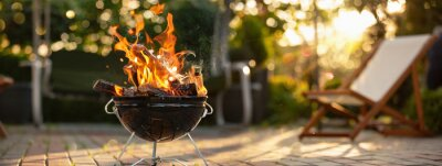 Fototapeta Barbecue Grill With Fire On Open Air