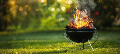 Fototapeta Barbecue Grill with Fire on Open Air. Fire flame