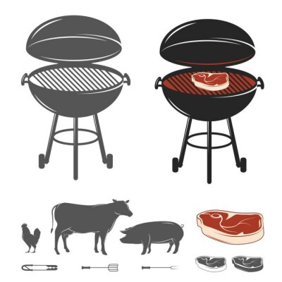 Fototapeta Barbecue ustawić elementy