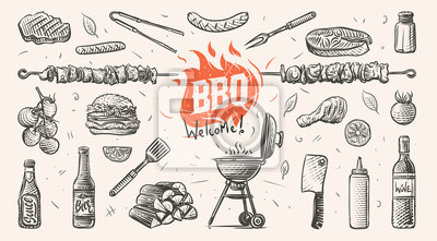 Fototapeta Barbeque related things hand drawn illustration. Vector.
