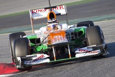 Fototapeta BARCELONA - FEBRUARY 21: Nico Hulkenberg of Force India F1 team racing at Formula One Teams Test Days at Catalunya circuit on February 21, 2012 in Barcelona, Spain