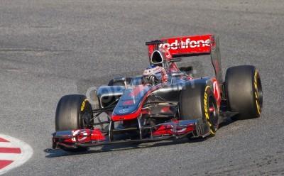 Fototapeta BARCELONA - FEBRUARY 24, 2012: Jenson Button of McLaren F1 team races during Formula One Teams Test Days at Catalunya circuity, Barcelona, Spain