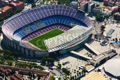 Fototapeta BARCELONA, Hiszpania - 01 sierpnia 2014: Widok z lotu ptaka na Camp Nou - największy stadion w Barcelonie