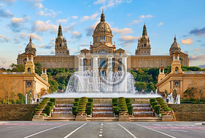 Fototapeta Barcelona, Spain. National Palace museum of Barcelona at Spanish Square with fountain at summer day.
