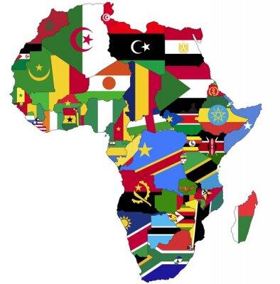 Fototapeta Bardzo Szczegółowe Afryki mapa z flagami kraju.