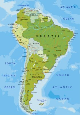 Fototapeta Bardzo szczegółowe edycji polityczną mapę. Ameryka Południowa.