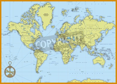 Fototapeta Bardzo szczegółowe mapa świata politycznego z literami, rzekach, oddzielonych warstwami. ilustracji wektorowych.