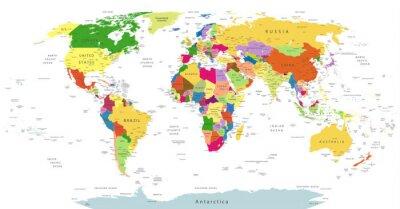 Fototapeta Bardzo Szczegółowe Polityczna mapa świata Na Białym