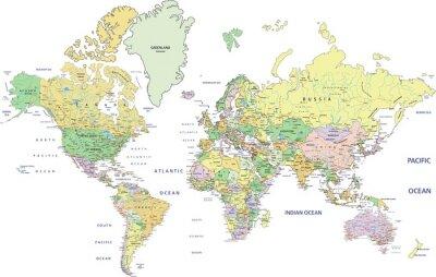 Fototapeta Bardzo szczegółowe polityczna mapa świata z etykietowania.