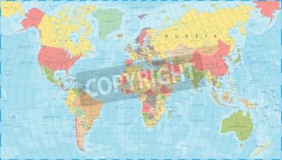 Fototapeta Barwiona Światowa mapa - Szczegółowa Wektorowa ilustracja
