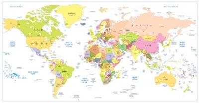 Fototapeta Barwne Mapa polityczna Świata samodzielnie na białym tle