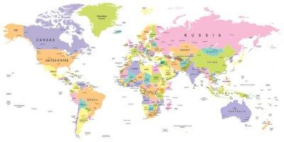 Fototapeta Barwne Mapa świata - granice, kraje i miasta - ilustracja bardzo szczegółowe kolorowych ilustracji wektorowych z mapy świata.