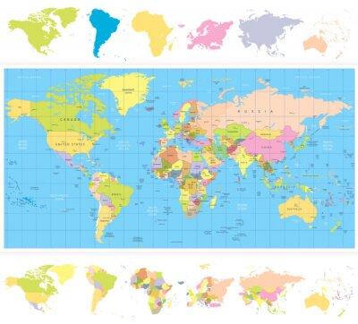 Fototapeta Barwne polityczna mapa świata z continnets