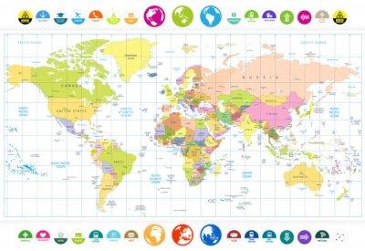 Fototapeta Barwne polityczna mapa świata z okrągłych płaskich ikon i globusy iso