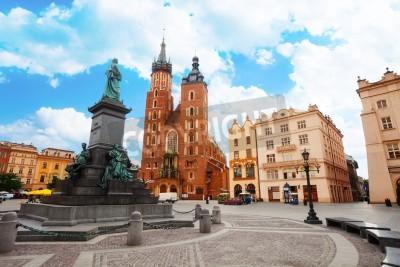 Fototapeta Bazylika Saint Mary i Rynek Główny (główny plac) Kraków, Polska
