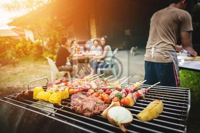 Fototapeta BBQ jedzenia przyjęcia lata opieczenia mięso.