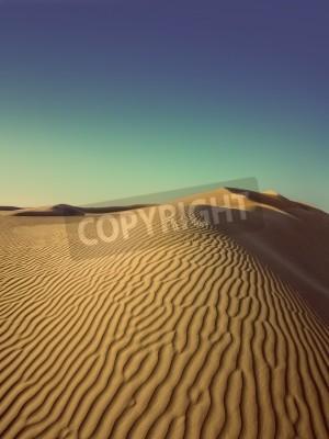Fototapeta beatiful evening landscape in desert - vintage retro style