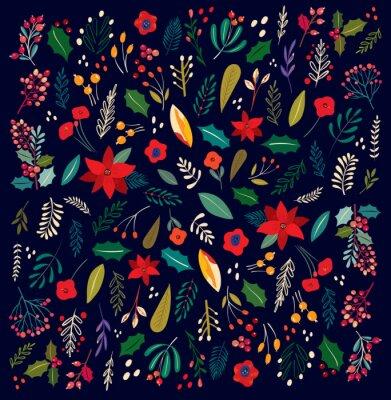 Fototapeta Beautiful Christmas floral vector pattern