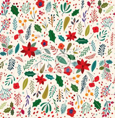 Fototapeta Beautiful Christmas floral vector seamless pattern