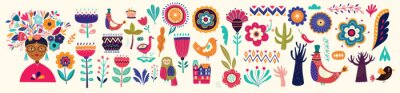 Fototapeta Beautiful colorful cartoon floral collection with leaves, flowers, tree and birds. Mexican ethnic pattern