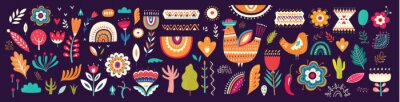 Beautiful colorful cartoon floral collection with leaves, flowers, tree and birds. Mexican ethnic pattern