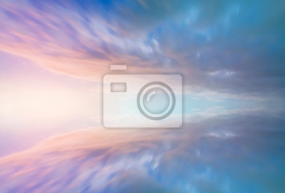 Beautiful colorful cloud. Sunset sky and reflection. Nature background.