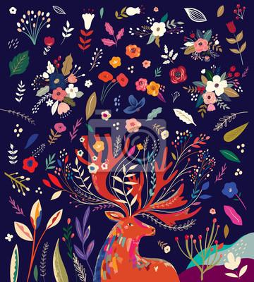 Fototapeta Beautiful creative pattern with flowers, leaves and deer