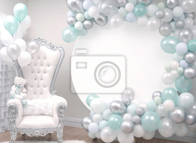 Fototapeta Beautiful decoration armchair and balloons for a baby shower party.