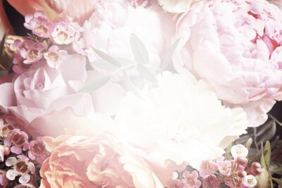 Fototapeta Beautiful delicate bouquet, closeup. Floral decor in vintage style