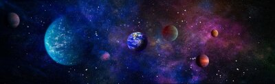 Fototapeta Beautiful Earth . Panoramic view of the Earth, sun, star and galaxy. Sunrise over planet Earth, view from space . Elements of this image furnished by NASA