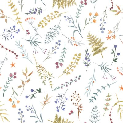 Fototapeta Beautiful floral seamless pattern with cute watercolor hand drawn wild flowers. Stock illustration.