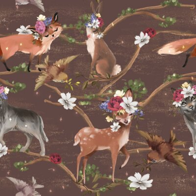 Fototapeta Beautiful floral seamless, tileable, watercolor pattern with woodland animals - deer, bunny, fox, wolf and bird with golden dust texture