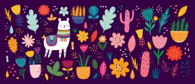 Beautiful flower collection with flowers, llama,  leaves. Modern colorful vector pattern