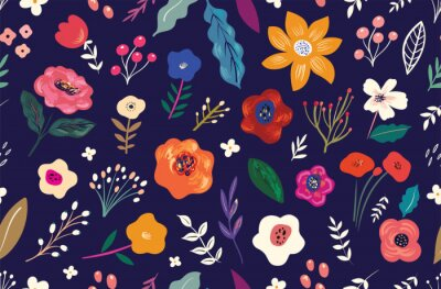 Fototapeta Beautiful flower seamless pattern with roses, leaves, flower compositions.