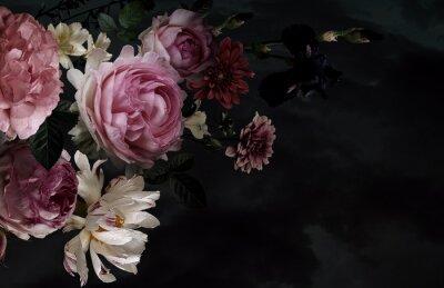 Fototapeta Beautiful garden flowers. Vintage floral card.