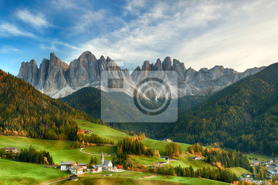 Fototapeta Beautiful landscape of Italian dolomites - Santa maddalena