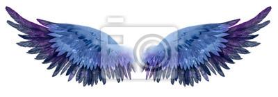 Fototapeta Beautiful magic dark blue violet watercolor wings