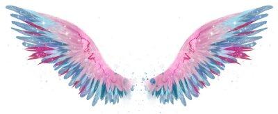 Fototapeta Beautiful magic watercolor blue pink wings